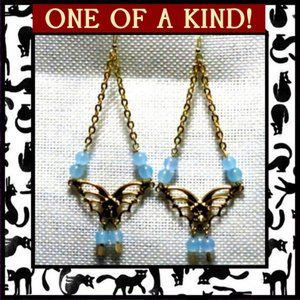 Blue Chalcedony Gemstone Butterfly Earrings